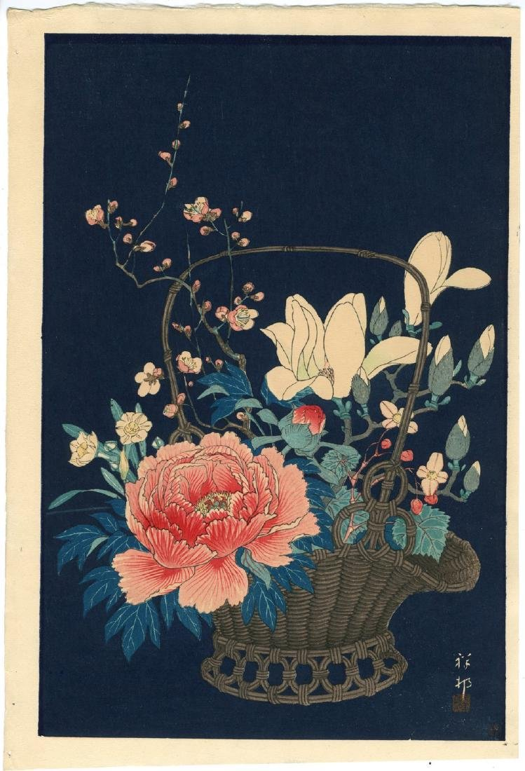 Ohara Koson Woodblock Basket of Flowers