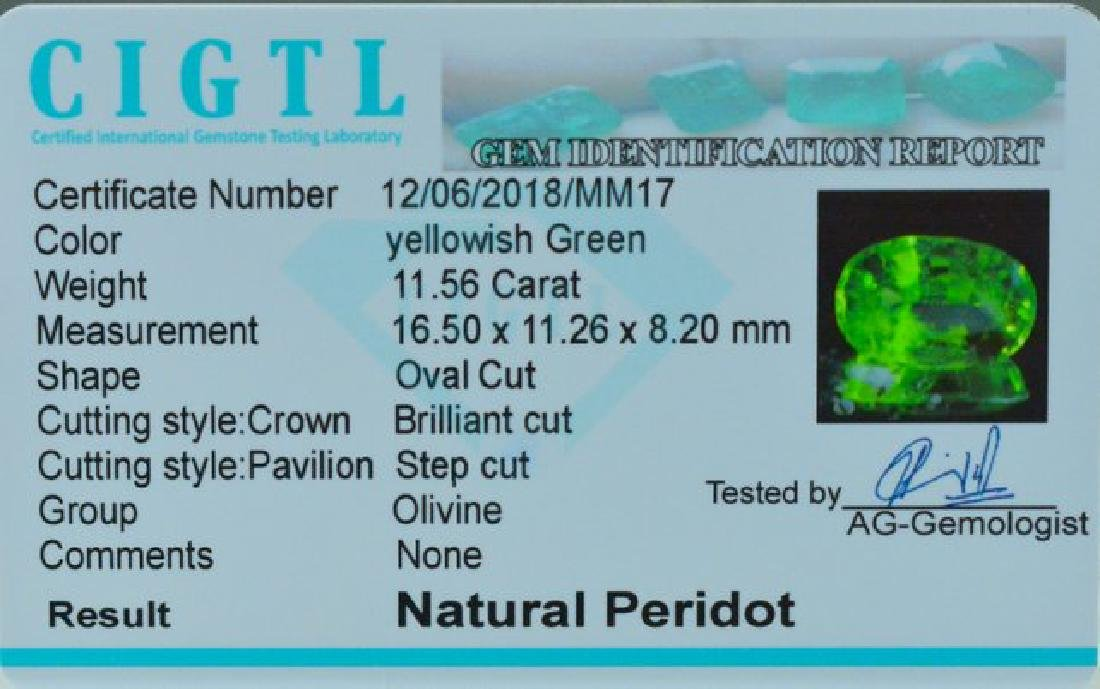 Certified 11.56 cts Round Cut Top Grade Natural Green - 3