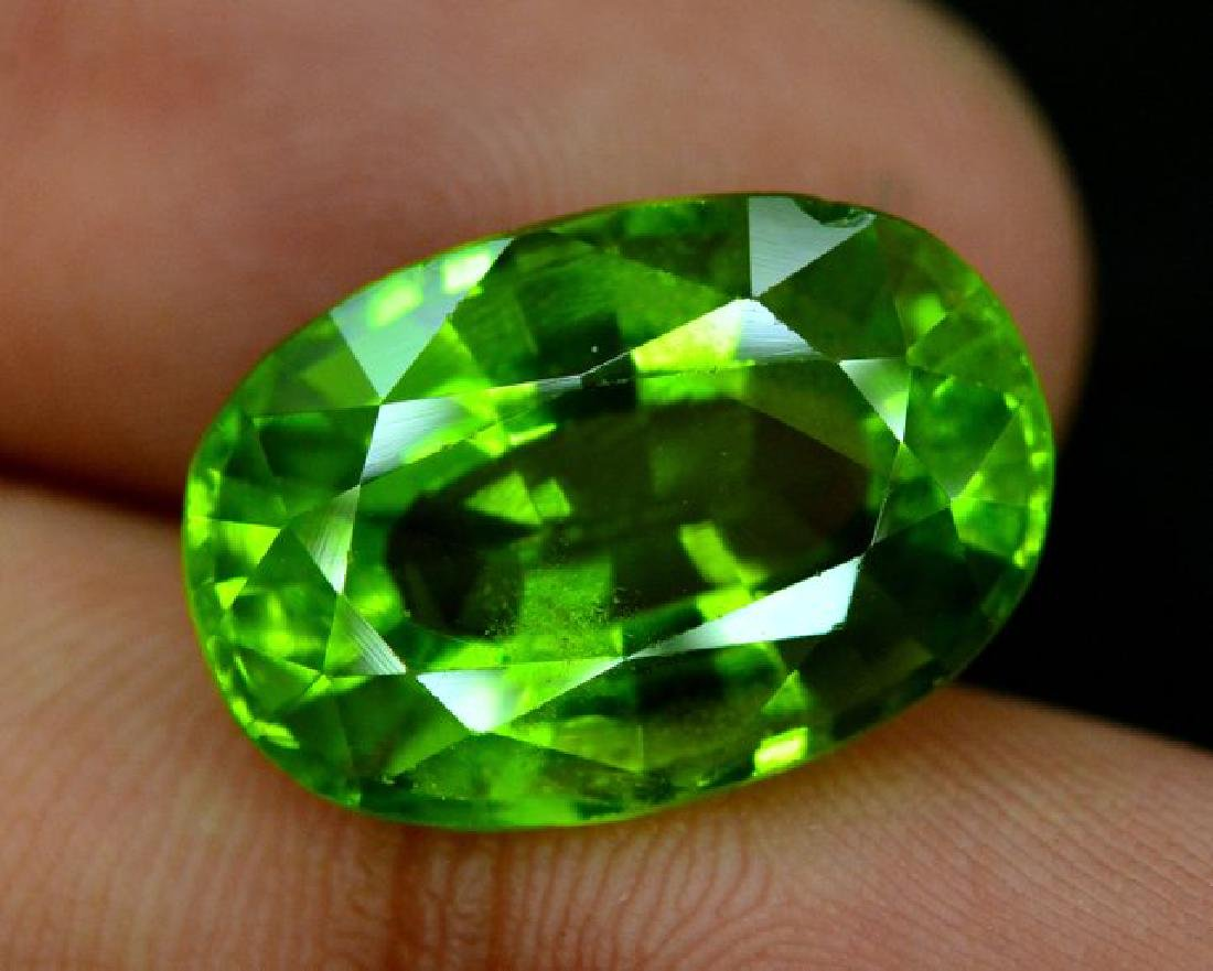 Certified 11.56 cts Round Cut Top Grade Natural Green - 6