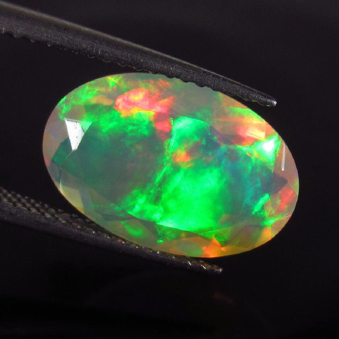 3.26 Ct Natural Ethiopian Faceted Opal Multi-Color Fire