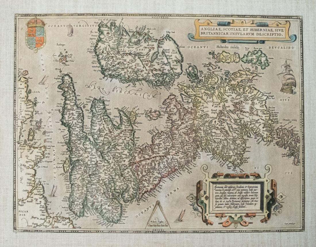 1592 Ortelius Map of Britain and Ireland -- Angliae,