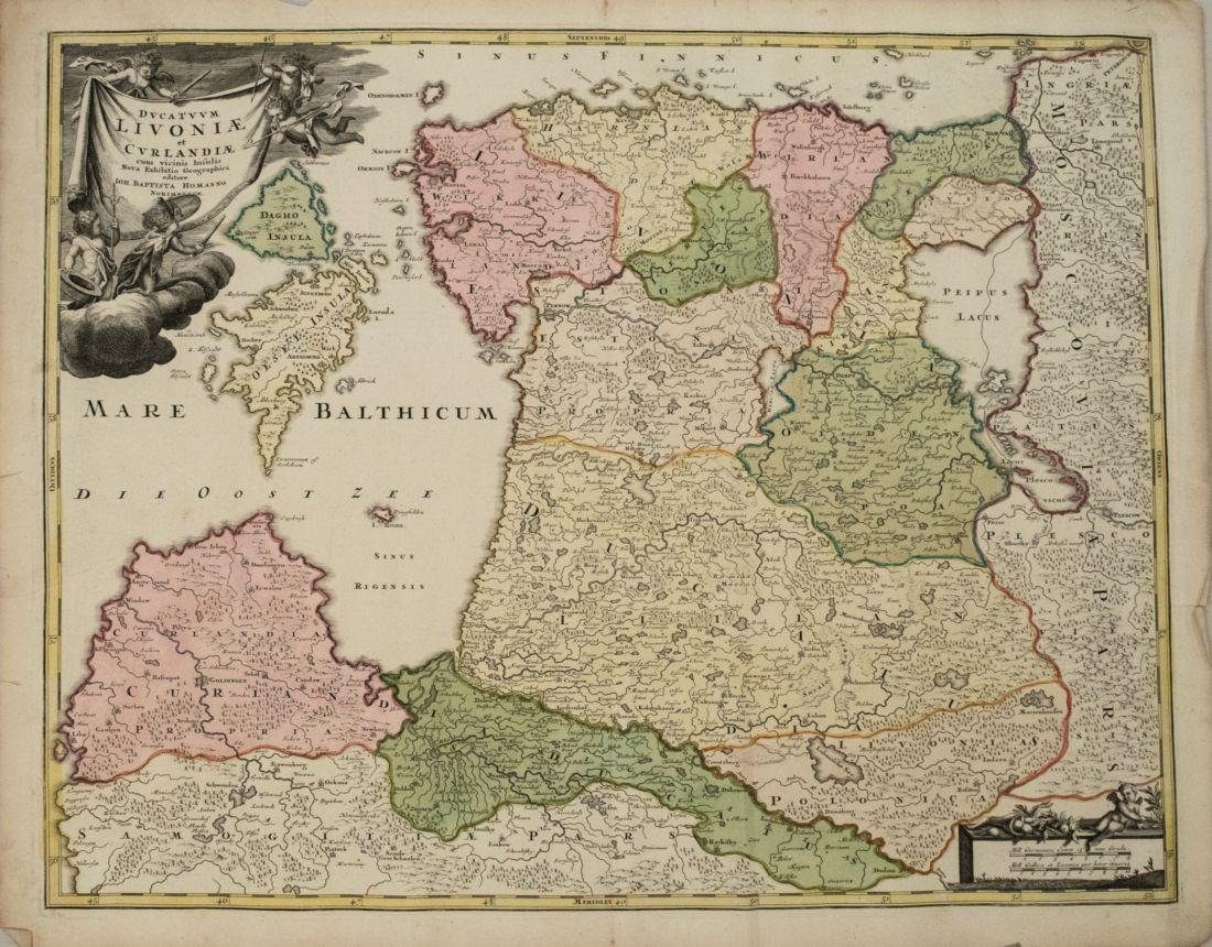 1720 Homann Map of Estonia and Latvia -- Ducatuum