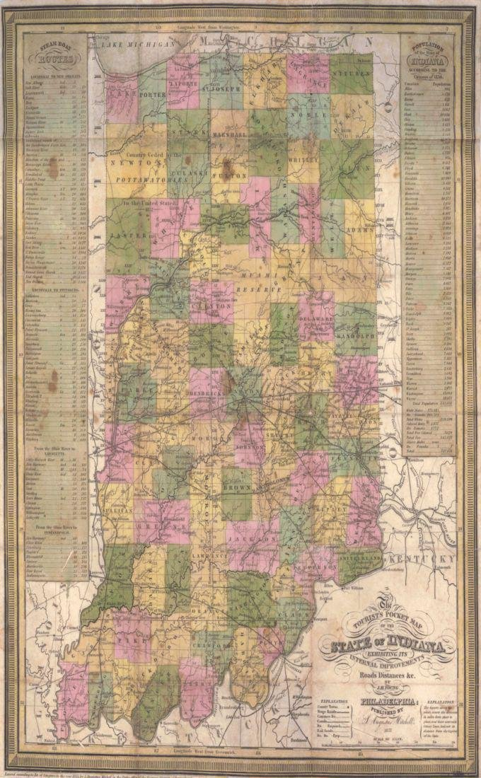 Tourist's Pocket Map of The State of Indiana Exhibiting