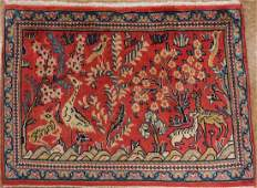 Persian Sarouk Hand Knotted Wool Pictorial Birds Rug