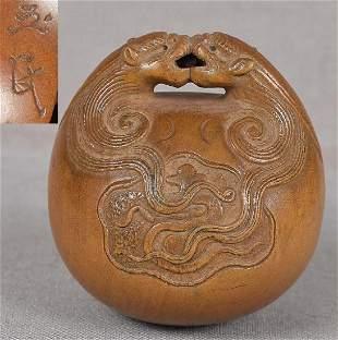 19c netsuke BUDDHIST GONG DRAGONS by GYOKUMIN