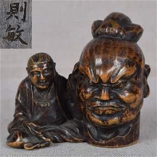 19c netsuke SCULPTOR & Guardian King by NORITOSHI