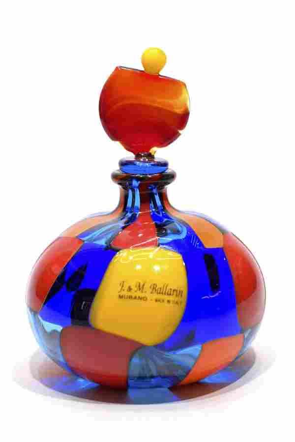 Angelo Ballarin - Murano glass Pezzato bottle signed