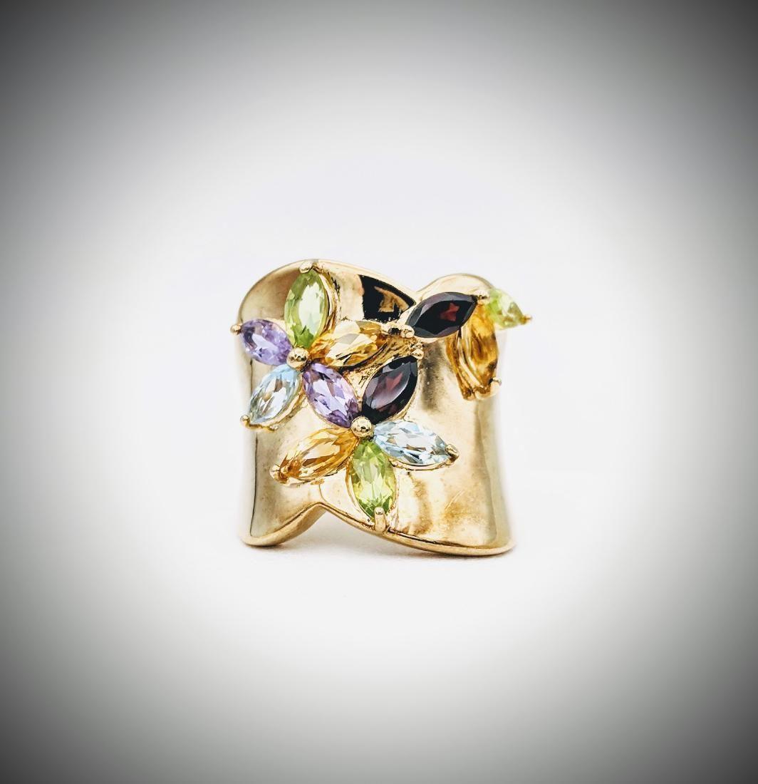 Multicolored Gemstone Ring Sz 7 w Almandine Garnet,