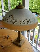 Pittsburgh glass lamp reverse painted shade art deco