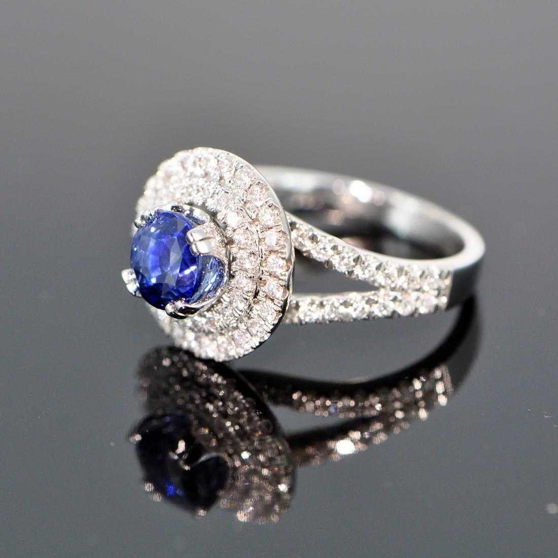 UNHEATED 216CT BRILLIANT CUT SAPPHIRE DIAMOND RING