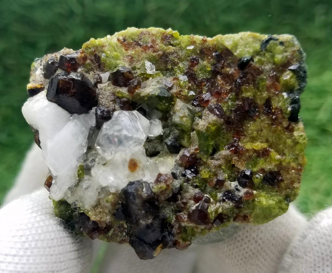 Natural Garnet Specimen With Calcite - 4