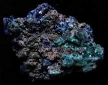 GLITTERING BLUE AZURITE ON MALACHITE