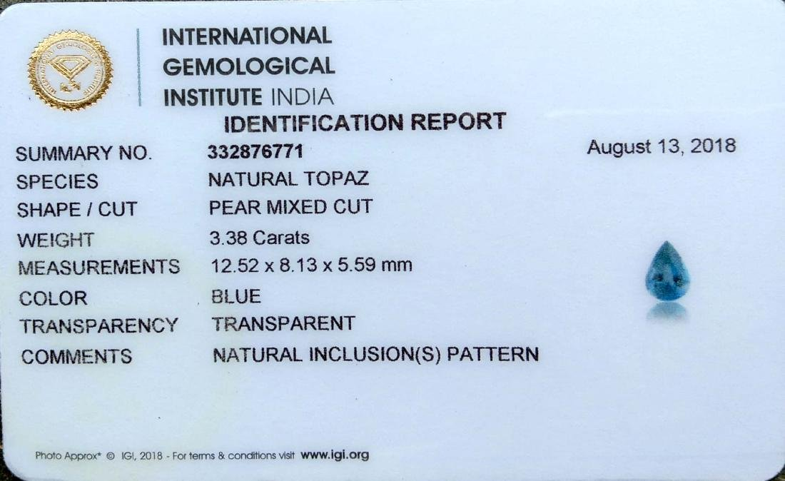 3.38 Ctw IGI Certified Natural London Blue Topaz Pear - 3