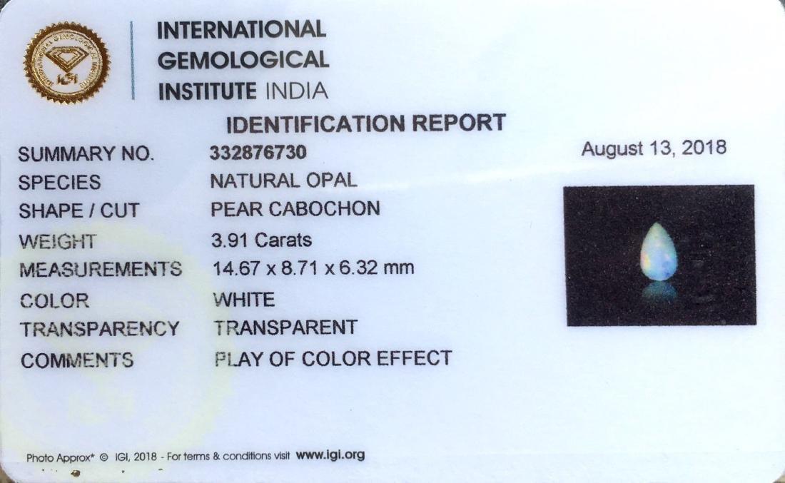 3.91 Ctw IGI Certified Natural Ethiopian Opal Pear - 4