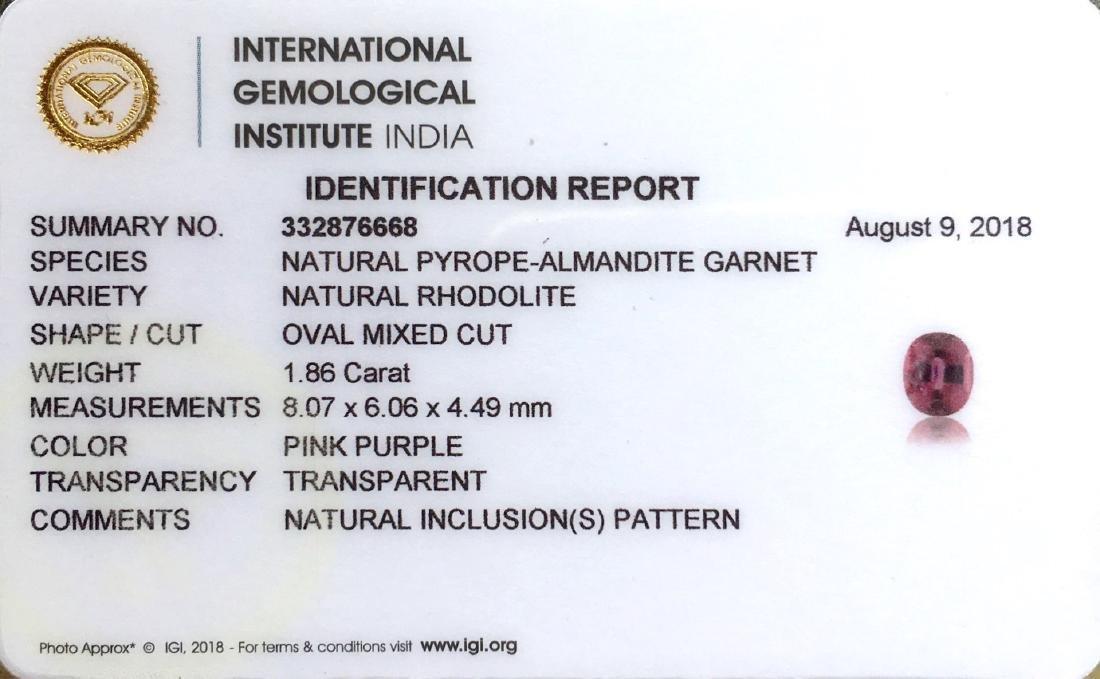 1.86 Ctw IGI Certified Natural Pink Rhodolite Garnet - 3