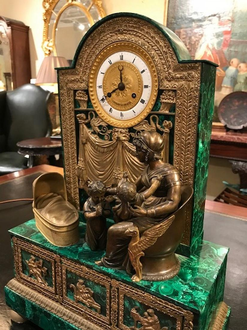 A19th century French malachite and gilt bronze clock - 3