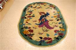 ART DECO OVAL CHINESE WALTER NICHOLS PICTORIAL RUG