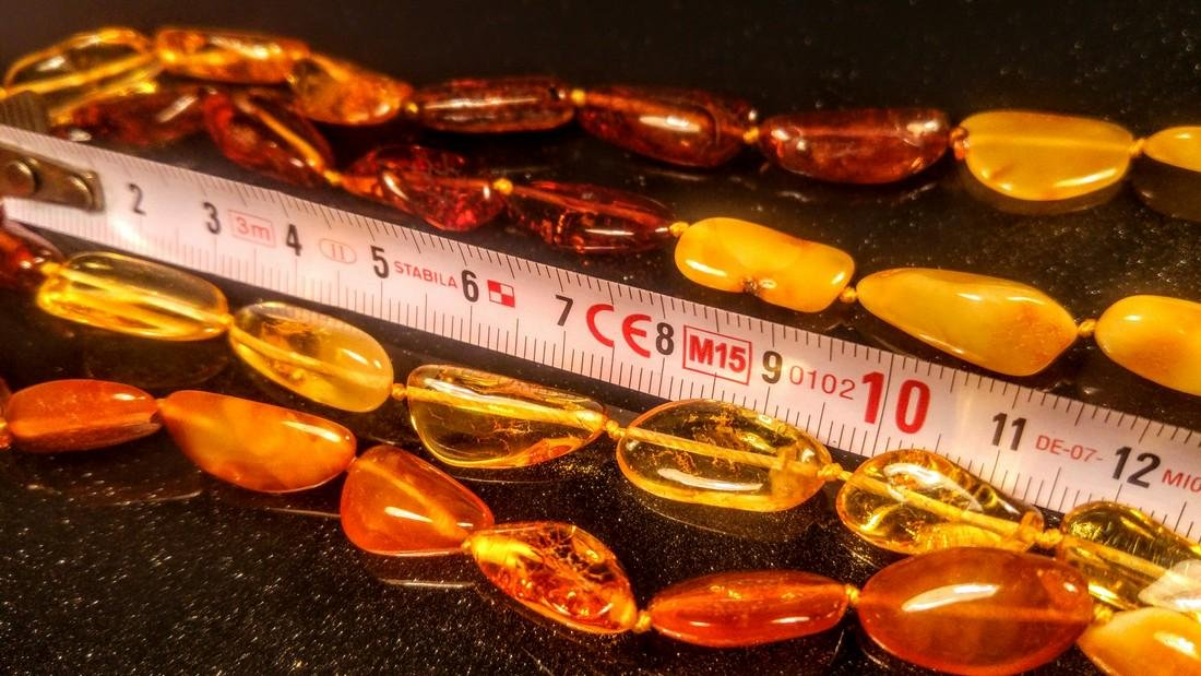 100% Genuine 200 cm long Baltic amber necklace - 7