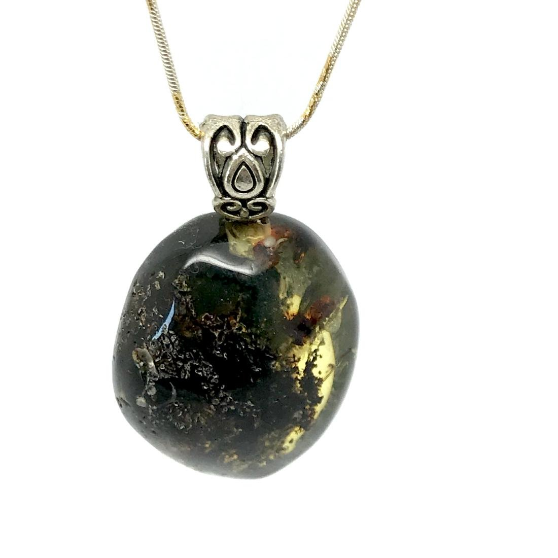 Green Baltic amber silver pendant charm 40x24mm