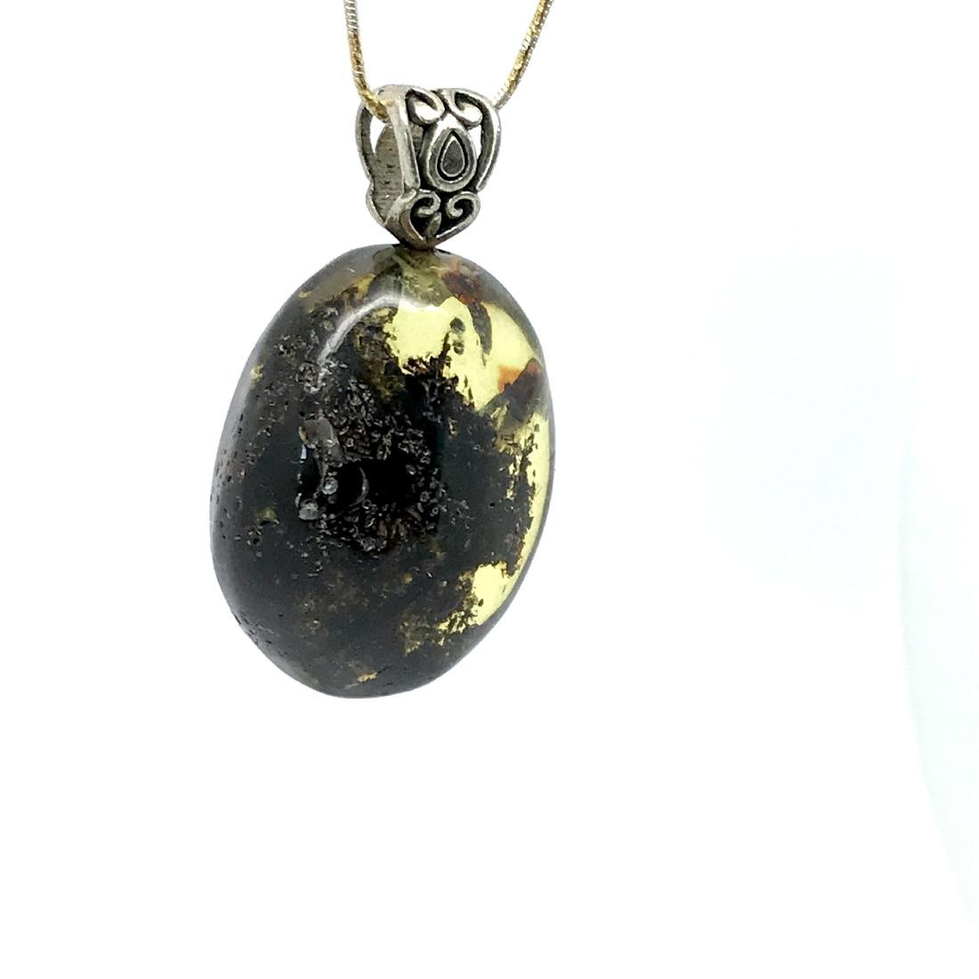 Green Baltic amber silver pendant charm 40x24mm - 2