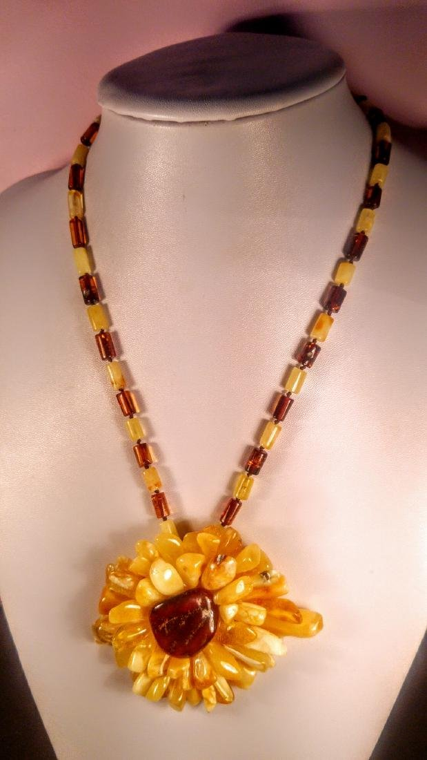 Baltic amber necklace with flower pendant, 100% Genuine - 10