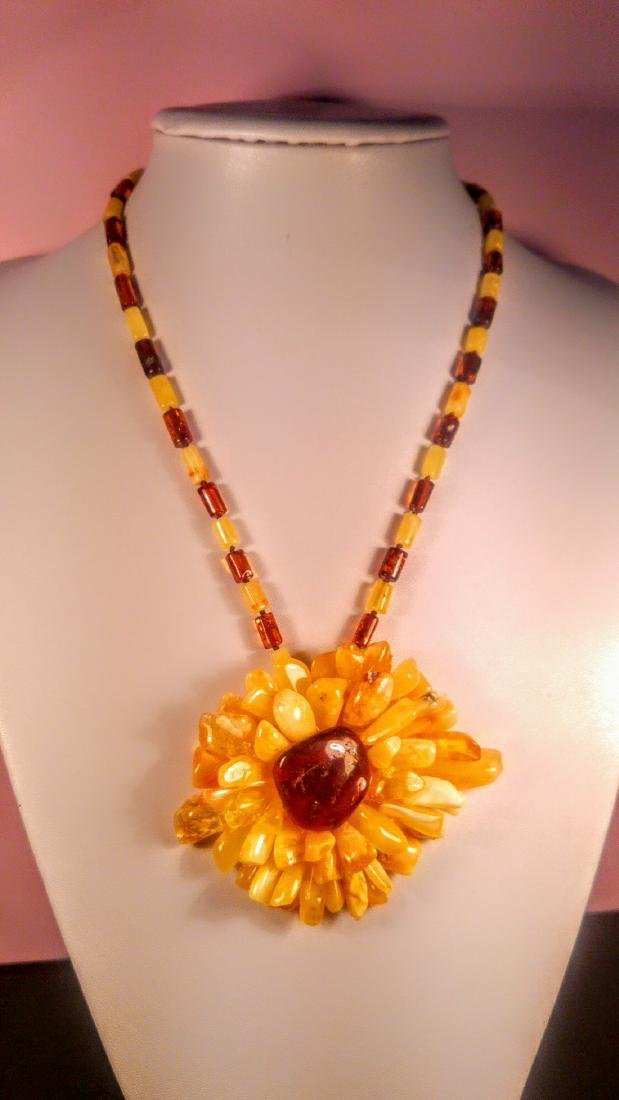Baltic amber necklace with flower pendant, 100% Genuine