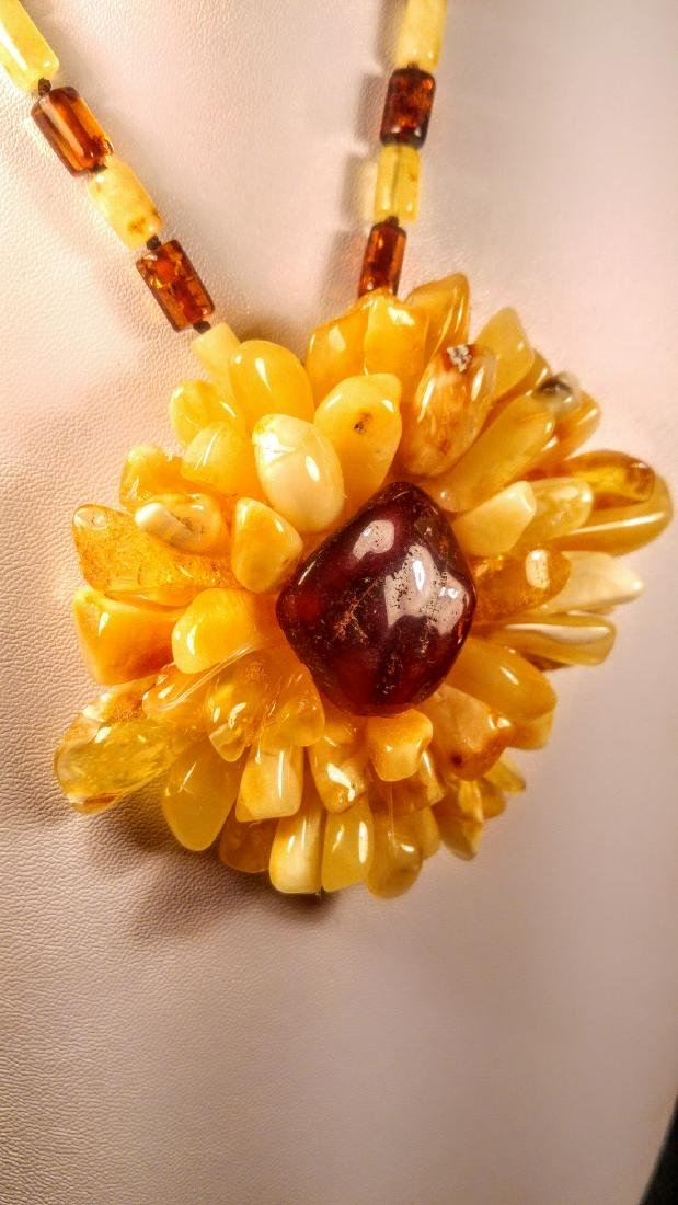 Baltic amber necklace with flower pendant, 100% Genuine - 8