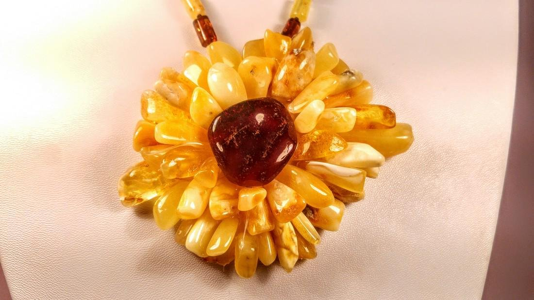 Baltic amber necklace with flower pendant, 100% Genuine - 9