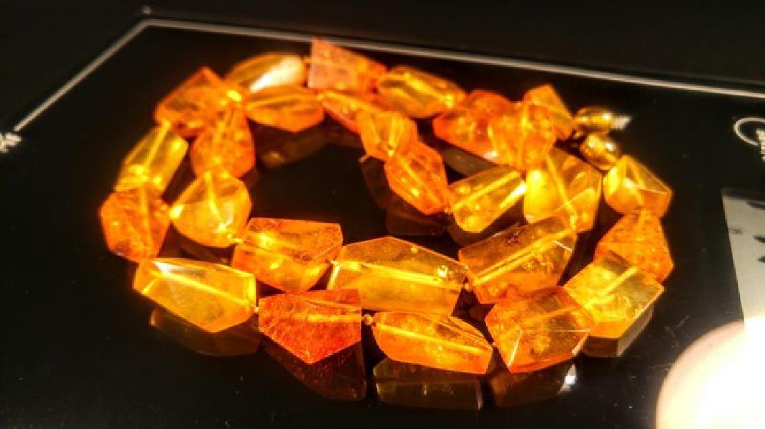 Vintage 100% natural Honey colour Baltic amber necklace - 6