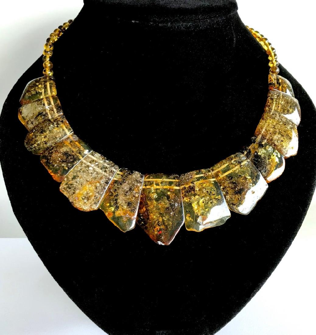 Green Baltic amber vintage collar wide necklace