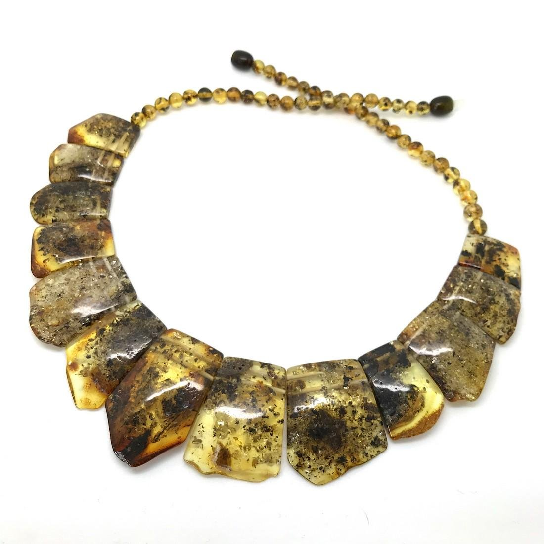 Green Baltic amber vintage collar wide necklace - 2