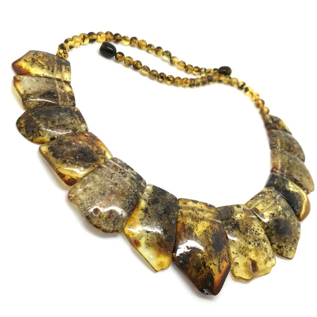 Green Baltic amber vintage collar wide necklace - 3