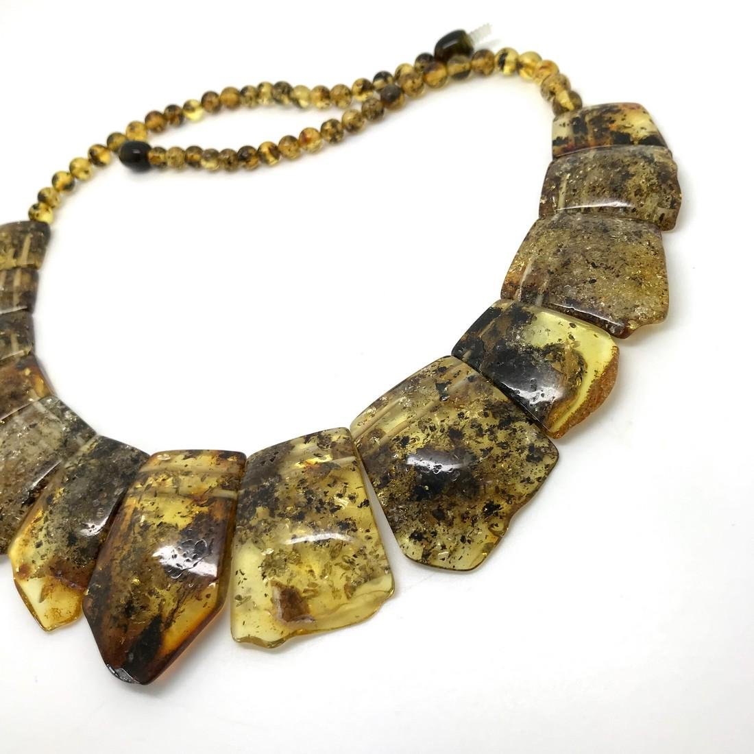 Green Baltic amber vintage collar wide necklace - 4