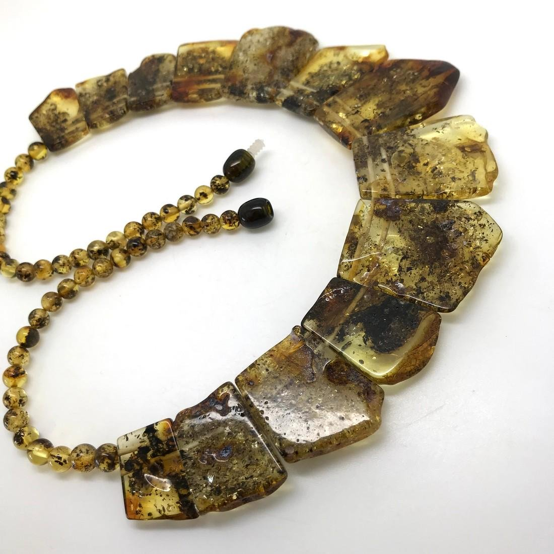 Green Baltic amber vintage collar wide necklace - 5
