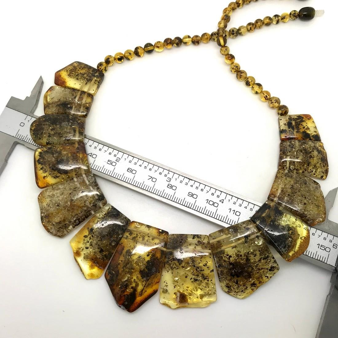 Green Baltic amber vintage collar wide necklace - 6