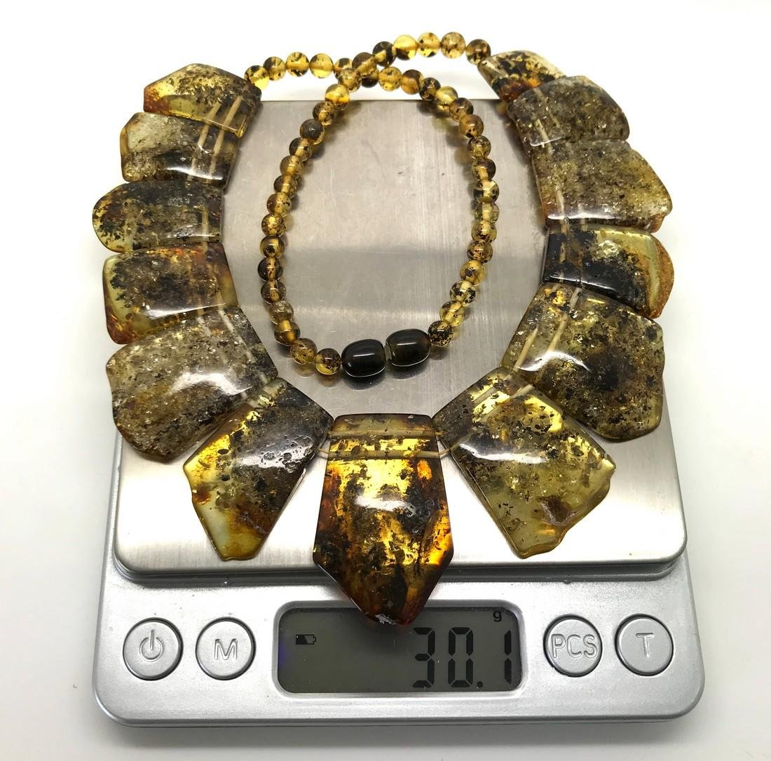 Green Baltic amber vintage collar wide necklace - 7