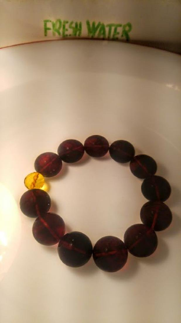 Round beads Baltic amber bracelet Cherry colour with - 10