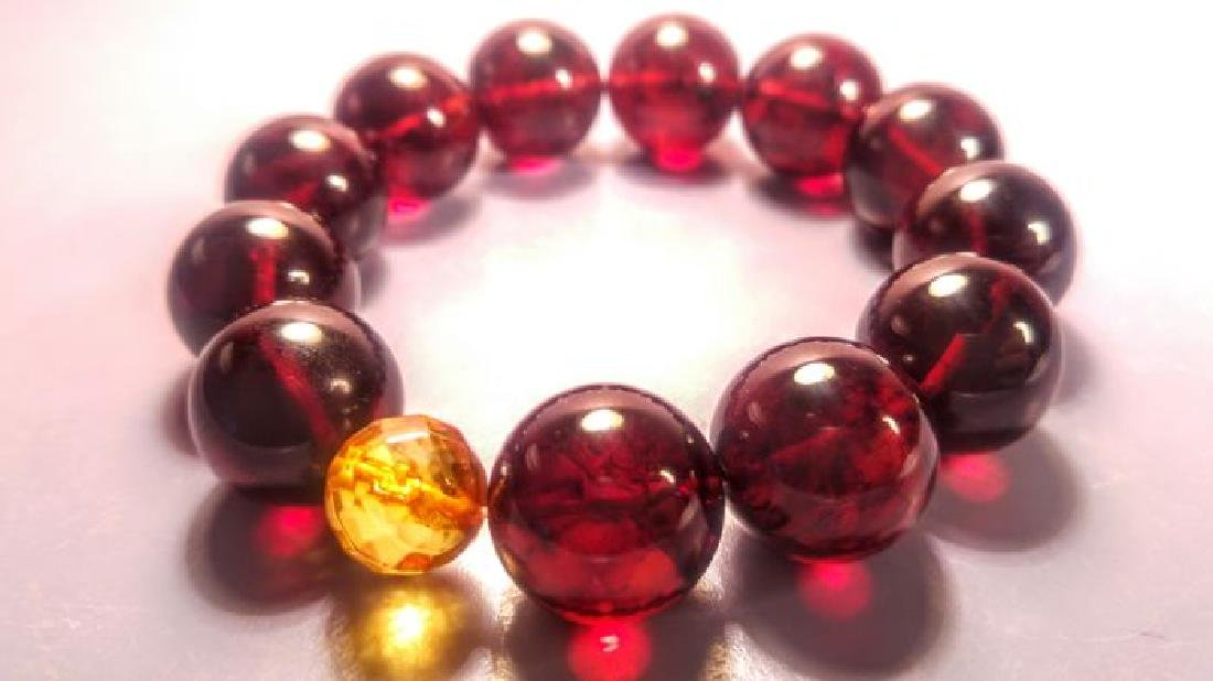 Round beads Baltic amber bracelet Cherry colour with - 3