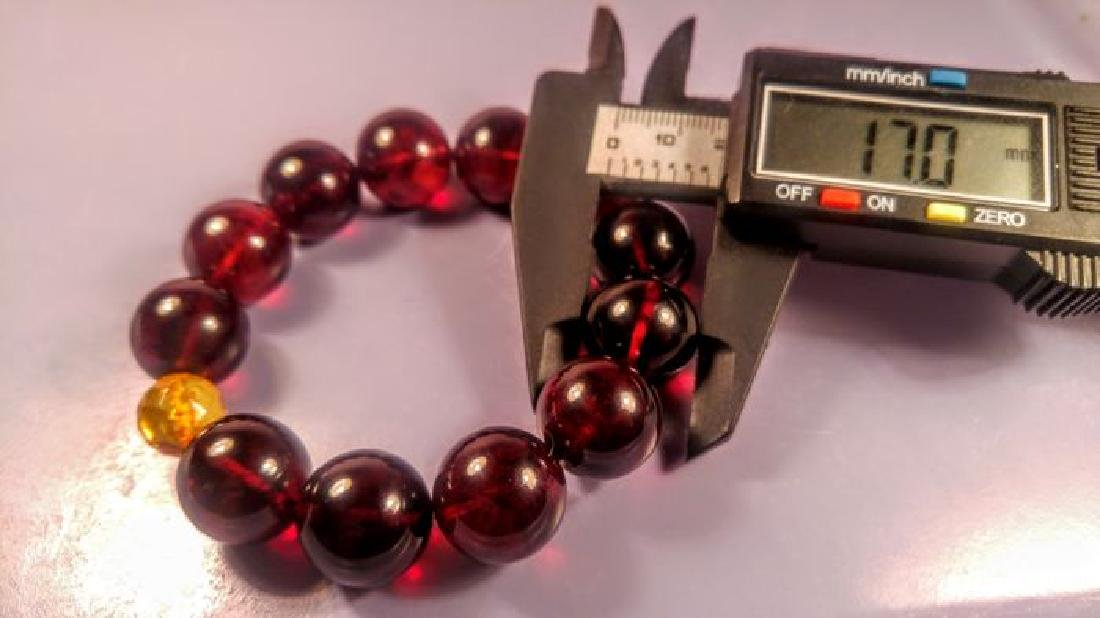 Round beads Baltic amber bracelet Cherry colour with - 4