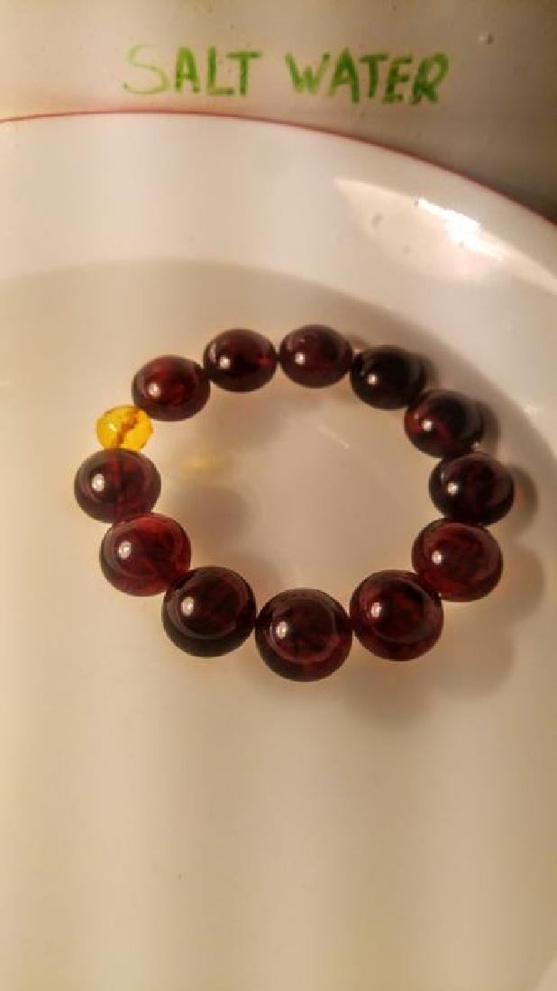 Round beads Baltic amber bracelet Cherry colour with - 6