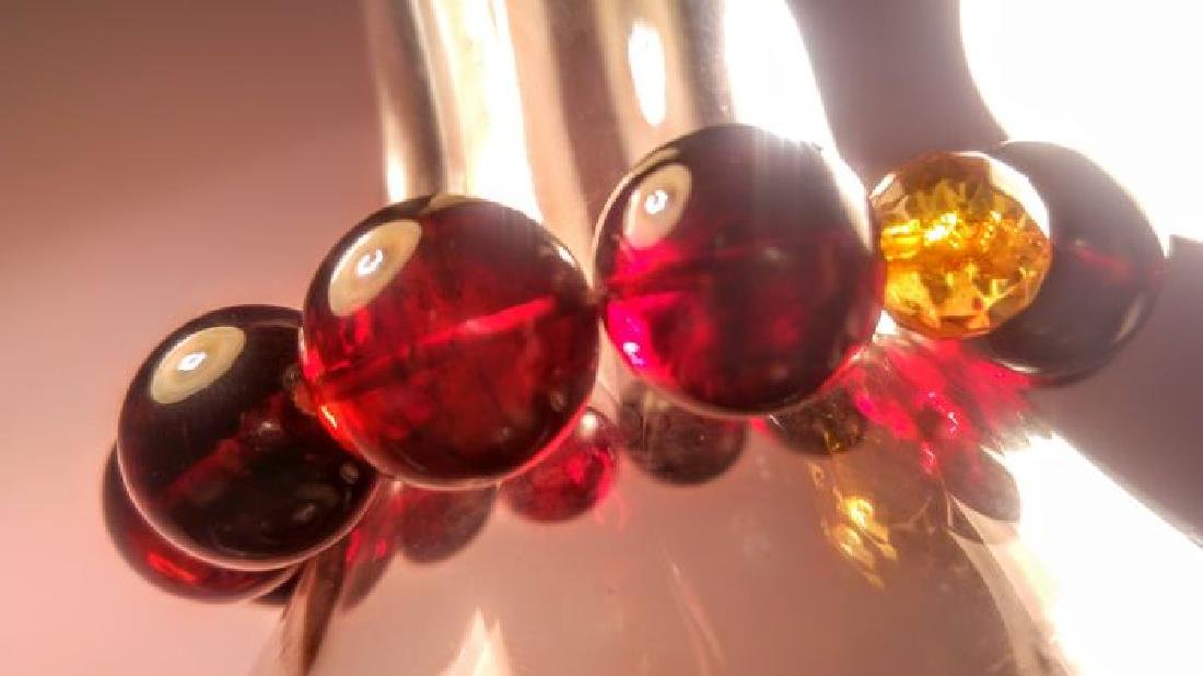 Round beads Baltic amber bracelet Cherry colour with - 9