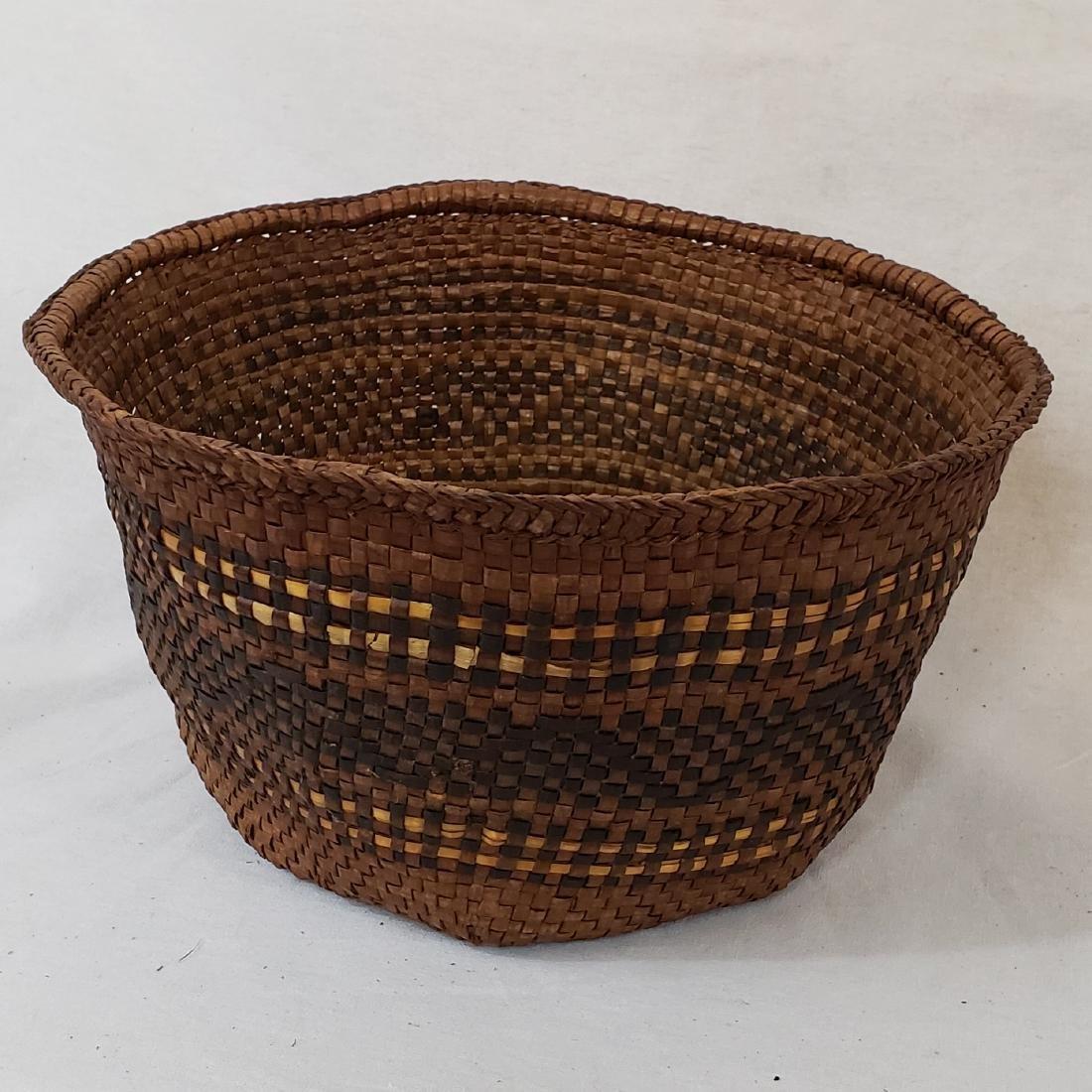 Woven cedar bark Northwest coast Indian basket ca 1900