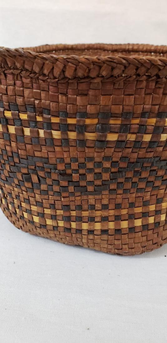 Woven cedar bark Northwest coast Indian basket ca 1900 - 4