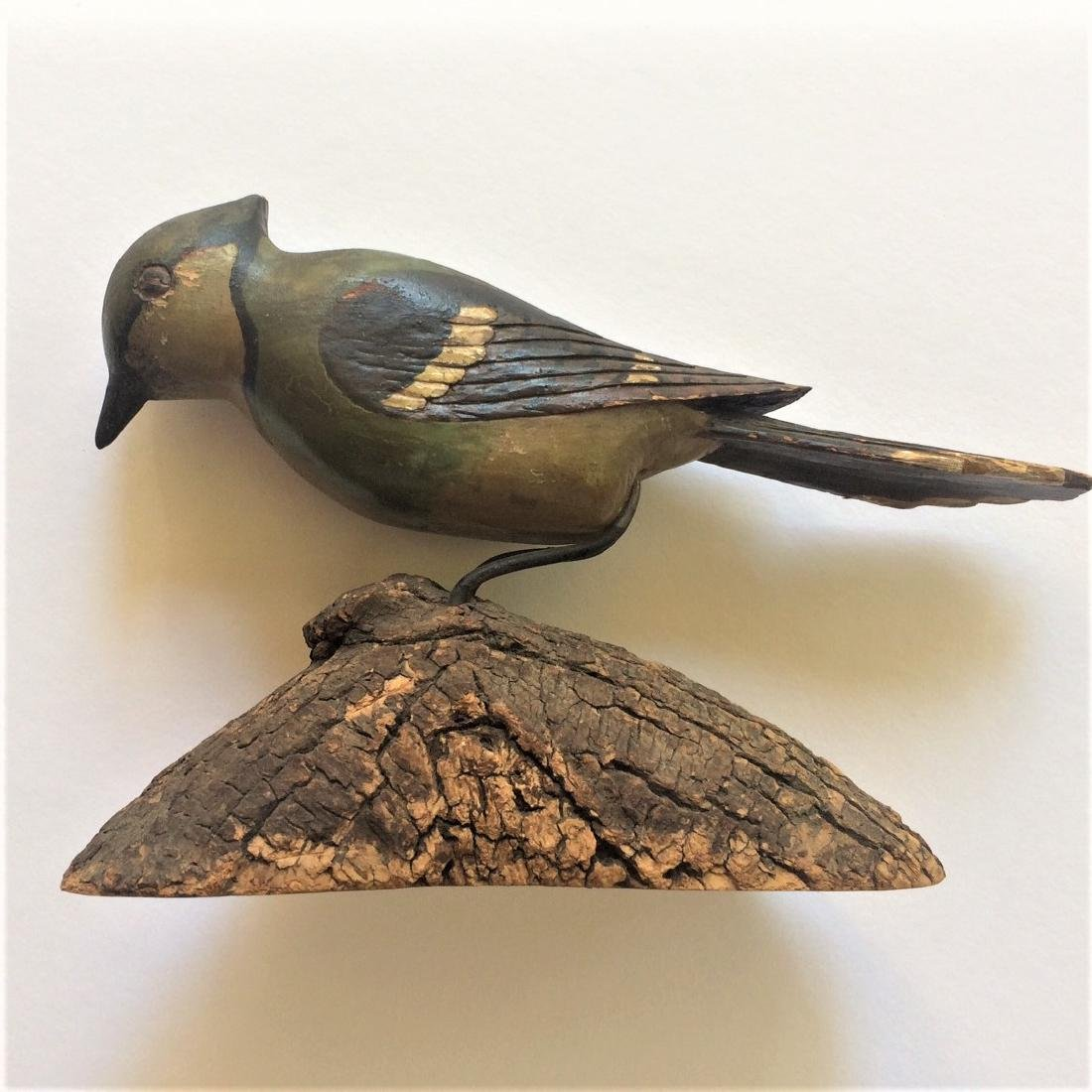 Early 20th Century Carved Wooden Blue Jay Bird