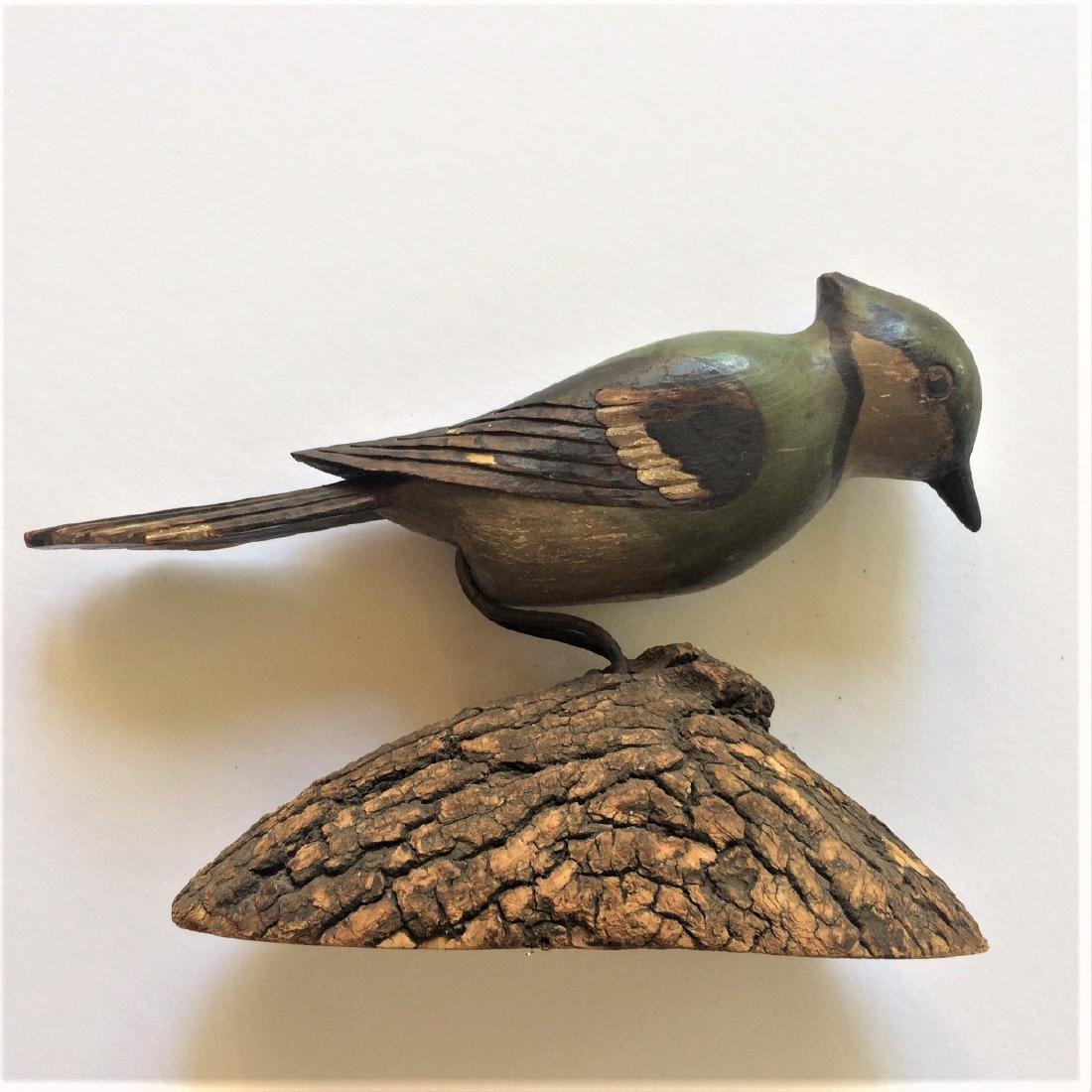 Early 20th Century Carved Wooden Blue Jay Bird - 2