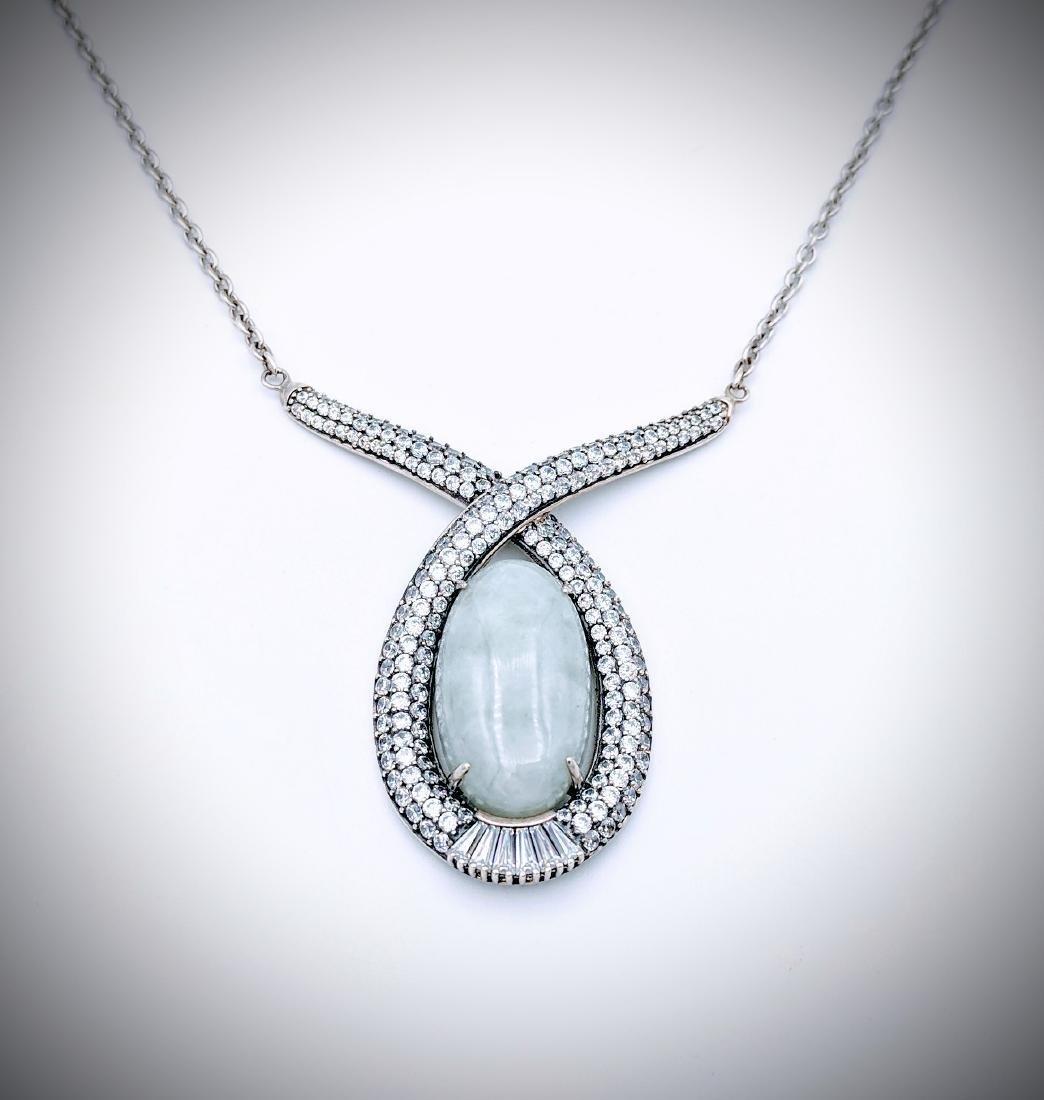 Sterling Silver Oval Jade w CZ Necklace