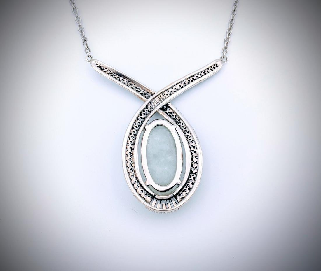 Sterling Silver Oval Jade w CZ Necklace - 2