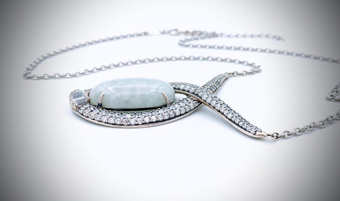 Sterling Silver Oval Jade w CZ Necklace - 3