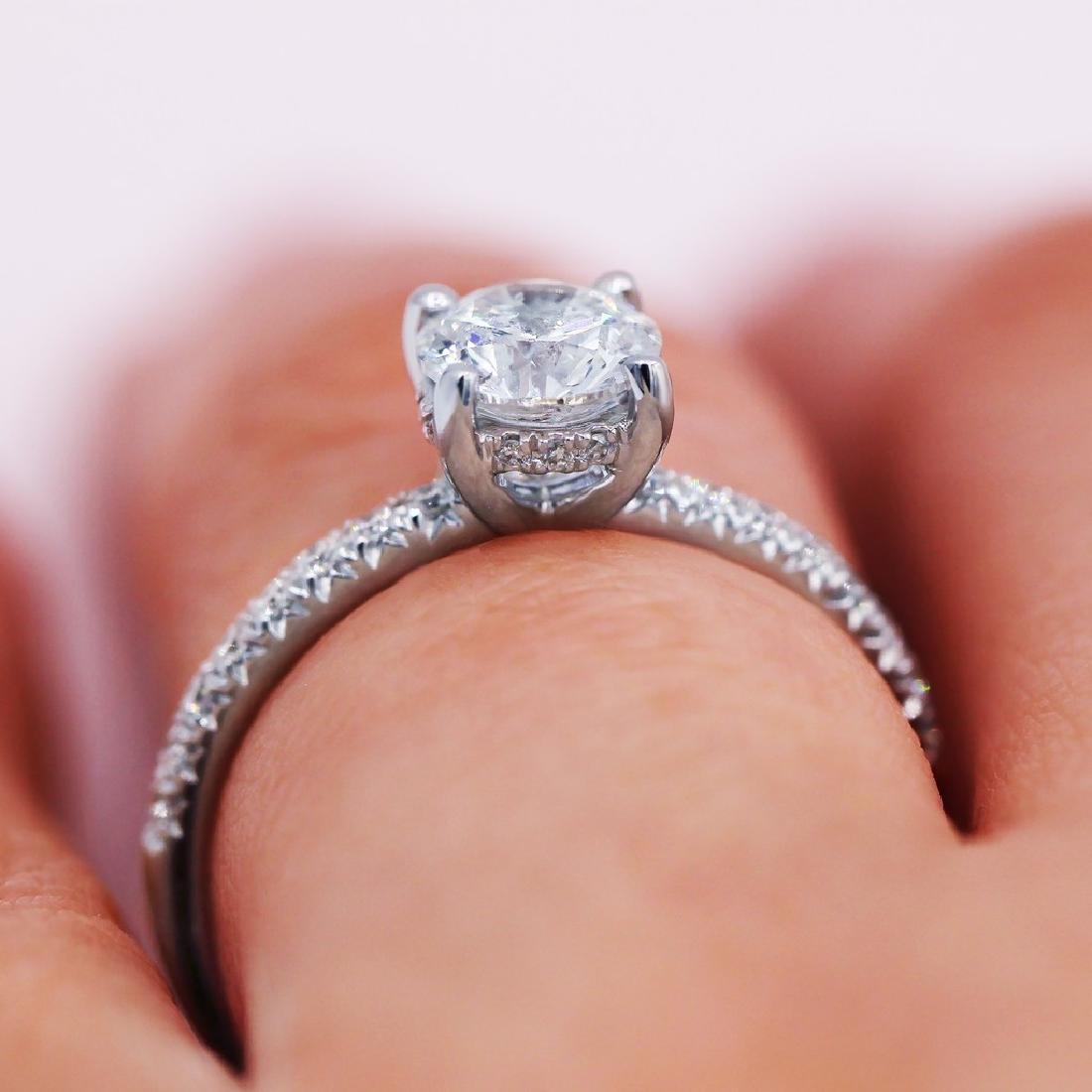 Sparkling 1.03 TCW round cut diamond pave engagement - 3
