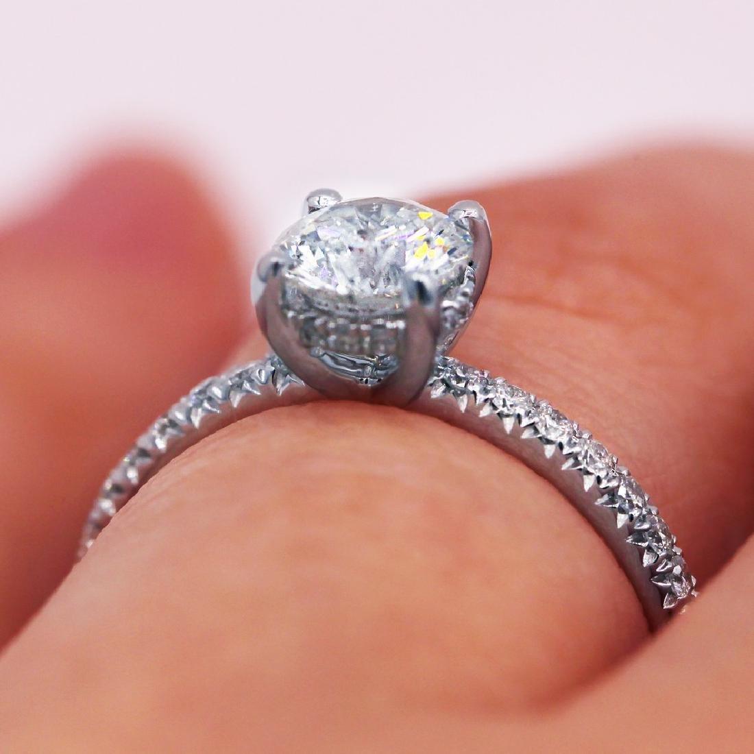 Sparkling 1.03 TCW round cut diamond pave engagement - 4